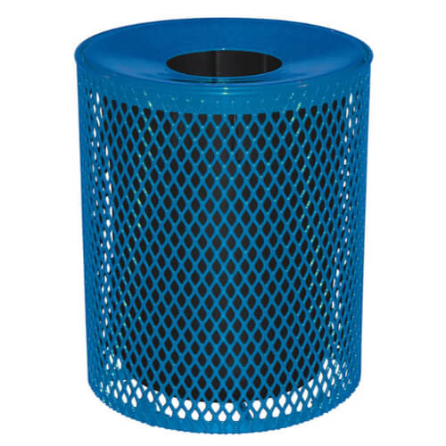 32 Gallon Expanded Blue Metal Trash Receptacle With Plastic Liner and Spun Metal Lid