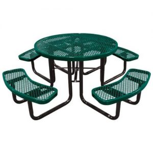 46 Inch Round Expanded Black Green Metal Picnic Table With 4 Attached Bench Seats