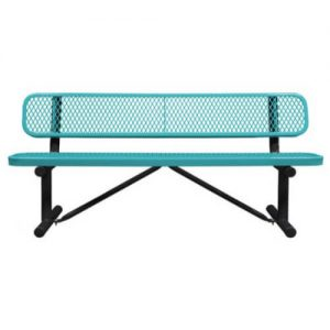 6 Inches Standard teal Expanded Bench With Back Portable