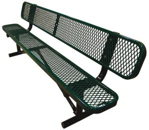 6 Inches Standard Black Green Expanded Bench With Back Portable R