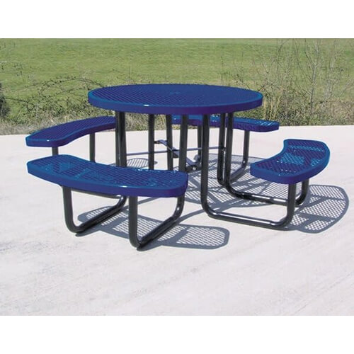 46 Round Expanded Metal Picnic Table With 4 Attached