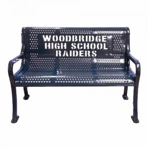 Woodbridge High School Raiders Black Metal Bench