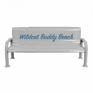 Gray Metal Wildcat Buddy Bench
