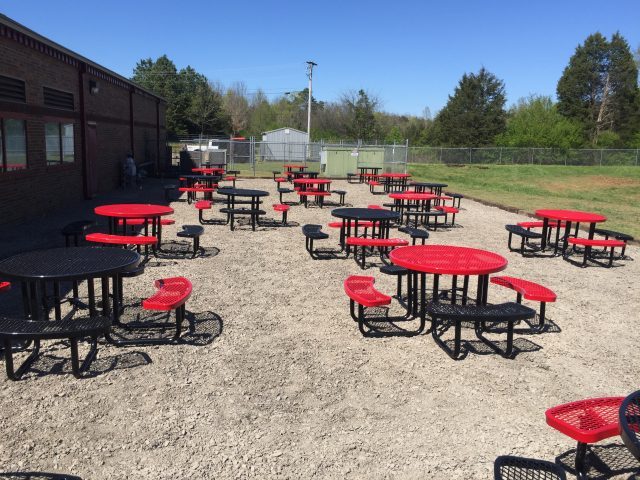 Red Metal Outdoor Tables